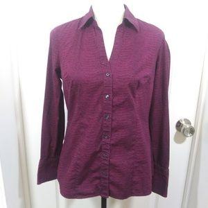 Express Purple Long Sleeve Button Front Top Sz XL